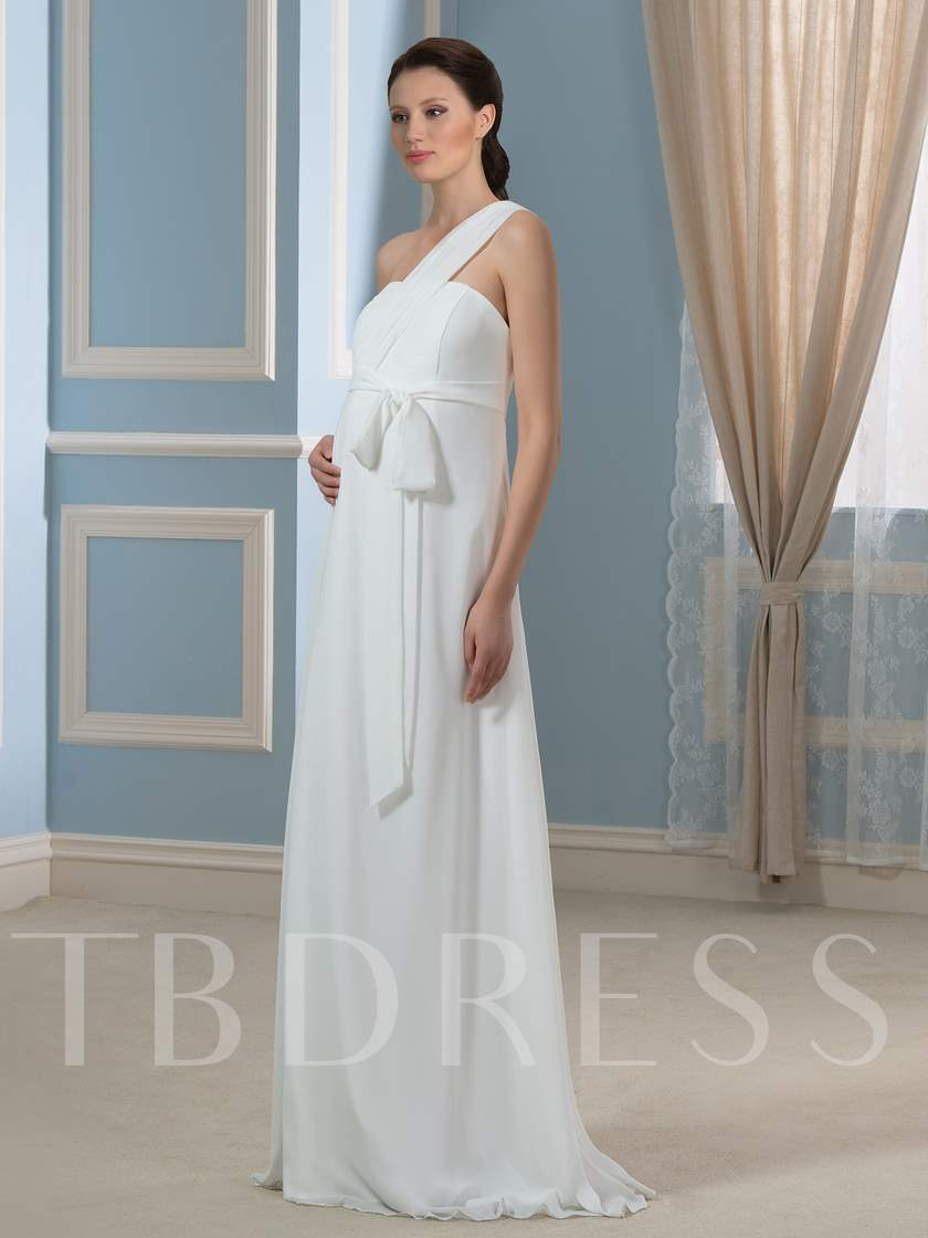 One-Shoulder Sashes Maternity Wedding Dress
