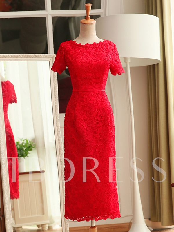 Short Sleeve Sheath Lace Cocktail Dress