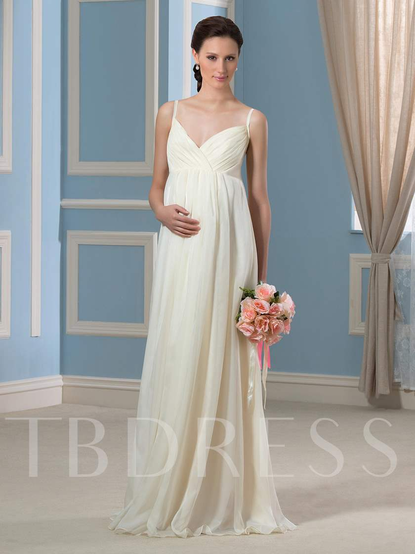 Spaghetti Straps A-Line Beach Maternity Wedding Dress