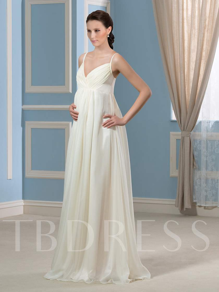 Spaghetti Straps Pleats Beach Maternity Wedding Dress