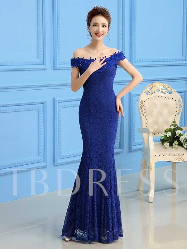 Off-The-Shoulder Lace Sheath Long Evening Dress