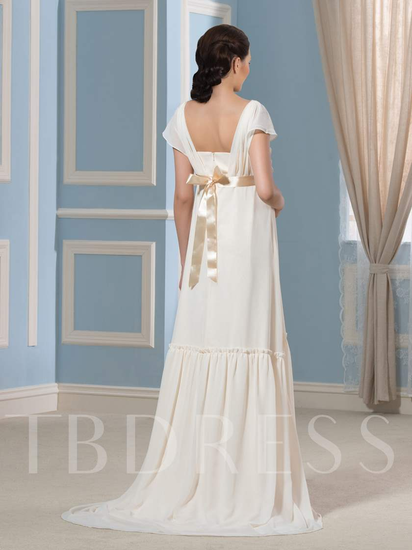 Chiffon Short Sleeve A-Line Floor-Length Maternity Wedding Dress ...