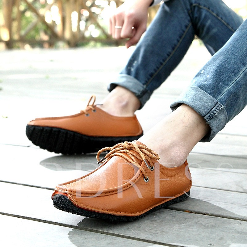 Flat Heel Lace-Up Front Square Toe Men's Loafers
