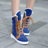 Elevator High Heel Color Block Ankle Snow Boots