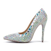 Slip-On Stiletto Heel Rhinestone Pointed Toe Wedding Shoes