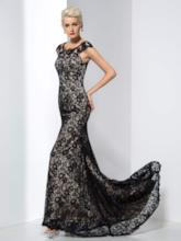 Scoop Cap Sleeve Lace Long Mermaid Evening Dress