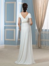 V-Neck Short Sleeves Beaded A-Line Maternity Wedding Dress