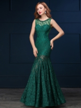 Scoop Beaded Lace Mermaid Evening Dress