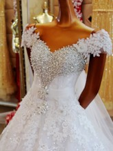 Off-The-Shoulder Appliques Beading Ball Gown Wedding Dress