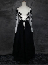 Long Sleeves Appliques Beaded Lace Tea-Length Evening Dress