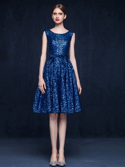 A-Line Scoop Bowknot Ruffles Sashes Sequins Homecoming Dress