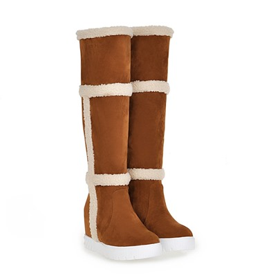 Elevator Heel Slip-On Knee-High Round Toe Women's Snow Boots