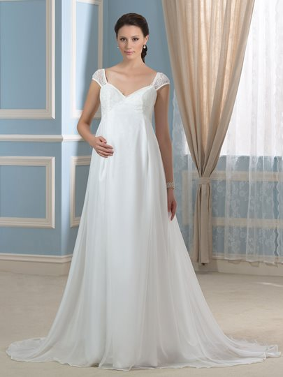 Empire Waist 30D Chiffon A-Line Backless Maternity Wedding Dress