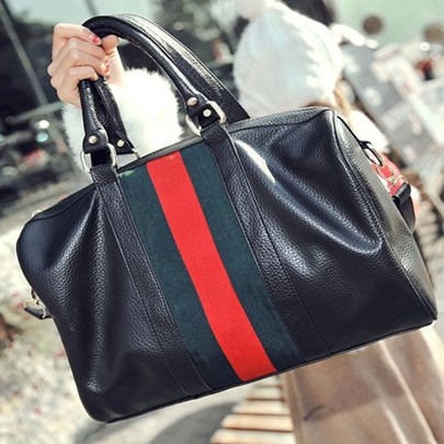 Fashion Roomy Stitching Contrast Color Handbag