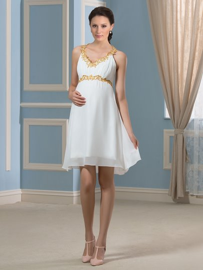 Beach Spaghetti Straps Short Appliques Chiffon Maternity Wedding Dress