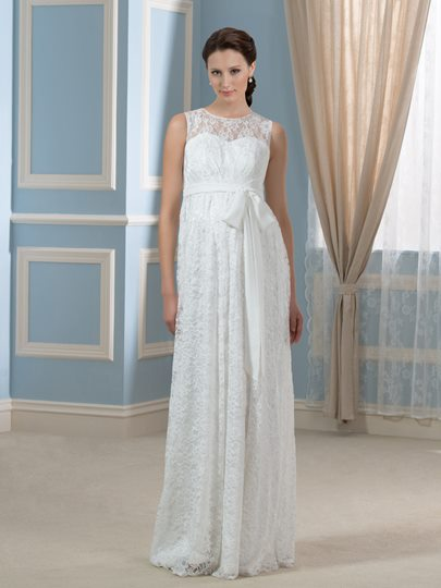 Pregnancy Empire Floor-length Lace Maternity Wedding Dress