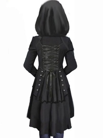 Corset Hooded Lace-up Women's Overcoat