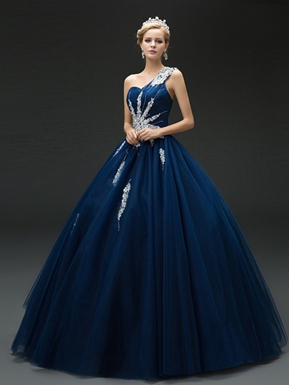 One-Shoulder Ball Gown Rhinestone Quinceanera Dress