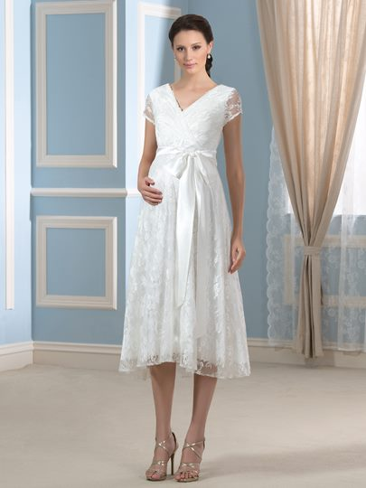 Tea-Length Short Sleeve Lace Maternity Wedding Dress