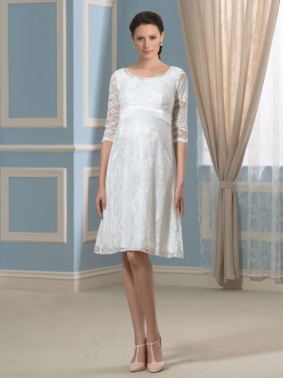 Knee-Length Scoop Neck Half Sleeves Lace Maternity Wedding Dress