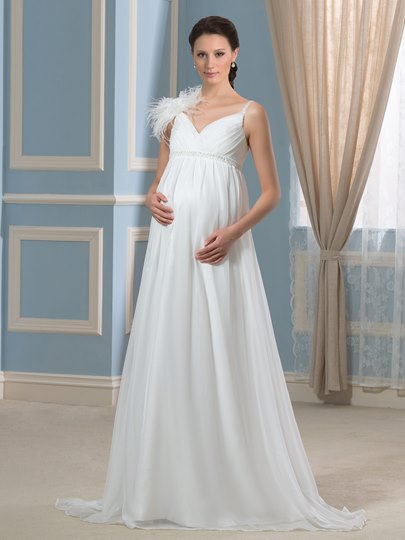 Empire Waist Beading Chiffon A-Line Pregnant Maternity Wedding Dress