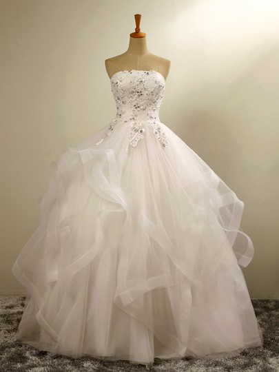 Strapless Lace Tulle Bail Gown Floor-Length Wedding Dress