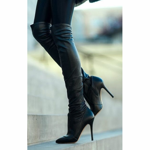 Pointed Toe Side Zipper Stiletto Heel Over-the-Knee Women's Boots