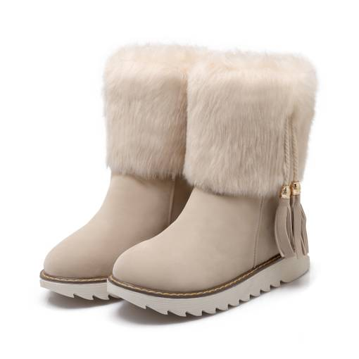 Round Toe Slip-On Flat Low Heel Short Floss Ankle Women's Snow Boots