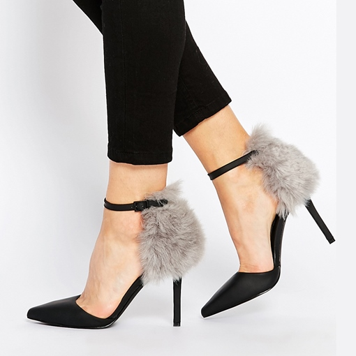 Closed Toe Plain Stiletto Heel Buckle Women's Pumps