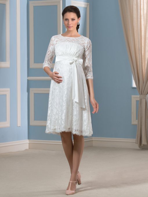 3/4 Length Sleeve Lace Knee-Length Maternity Wedding Dress
