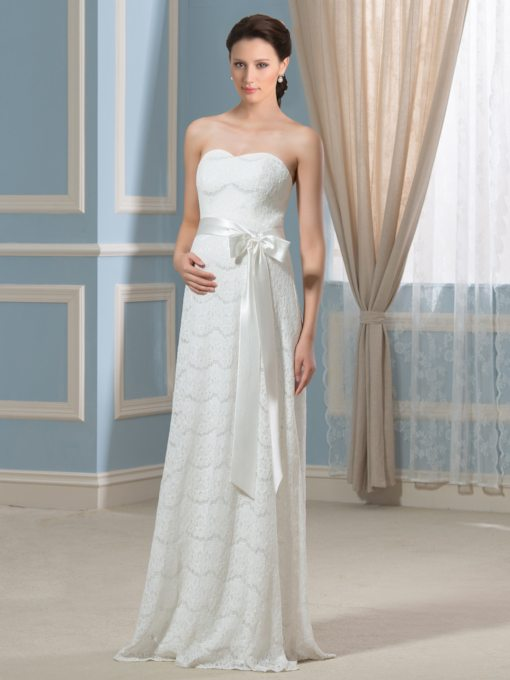 Sweetheart Sashes Lace Maternity Wedding Dress