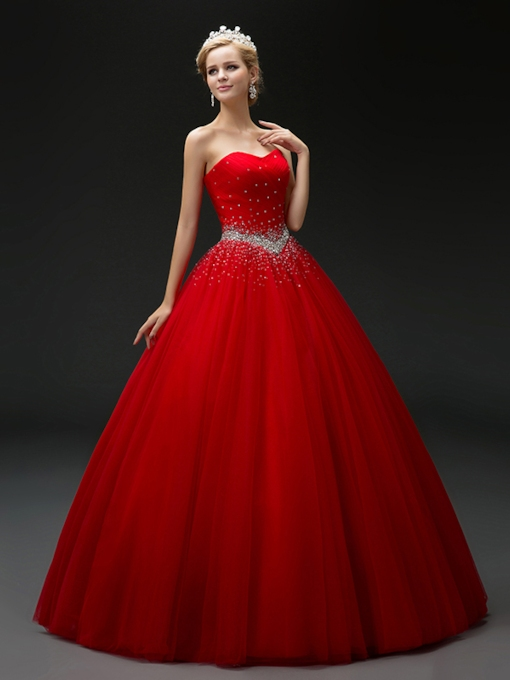 Ruched Sweetheart Beaded Floor-Length Quinceanera Dress