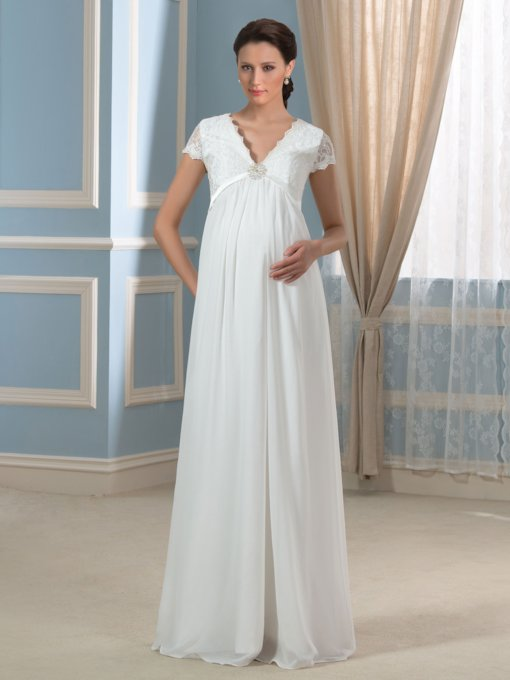 Cap Sleeve Empire Waist Lace Maternity Wedding Dress