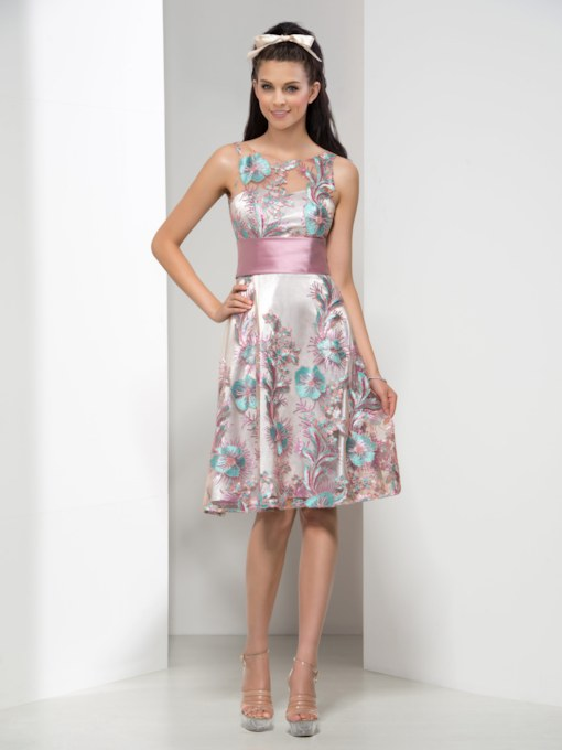 Round Neck Knee-Length Ribbon Print Cocktail Dress