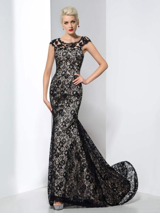 Scoop Neck Cap Sleeve Mermaid Lace Evening Dress