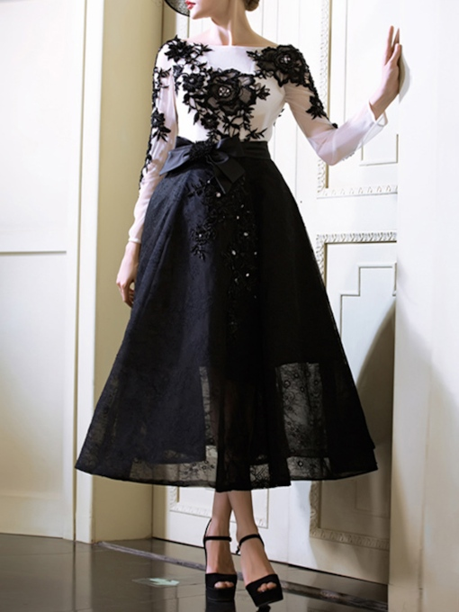 Long Sleeves A-Line Bateau Appliques Beaded Tea-Length Evening Dress