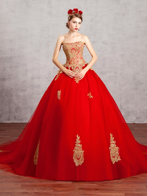 Strapless Lace Applqiues Ball Gown Red Wedding Dress