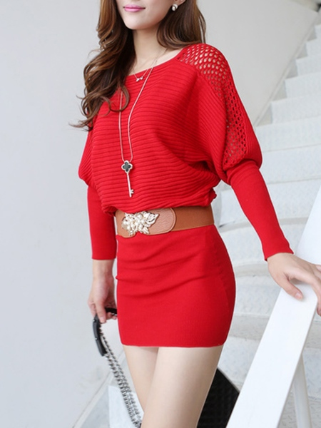 Plain Round Neck Backless Women's Sweater Dress
