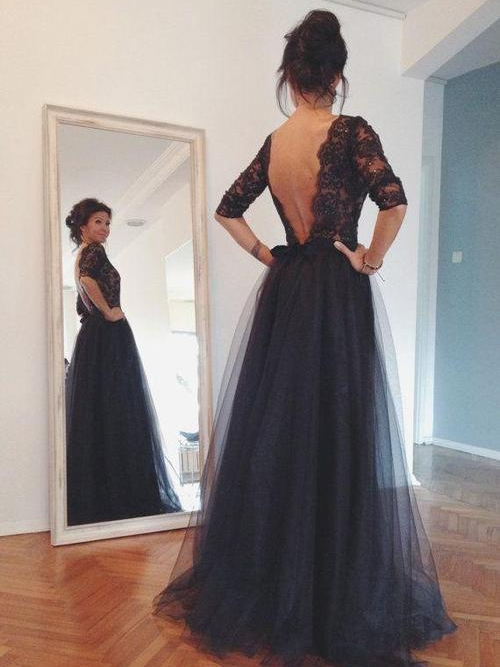 Bateau Neck Backless Half Sleeves Lace Evening Dress