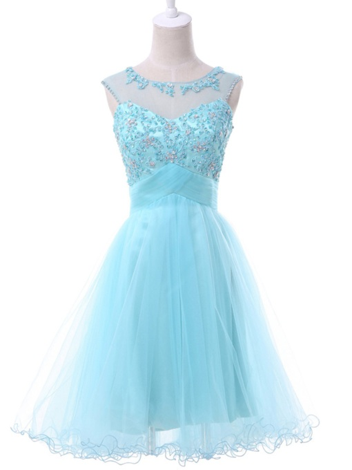 A-Line Scoop Beaded Appliques Mini Homecoming Dress