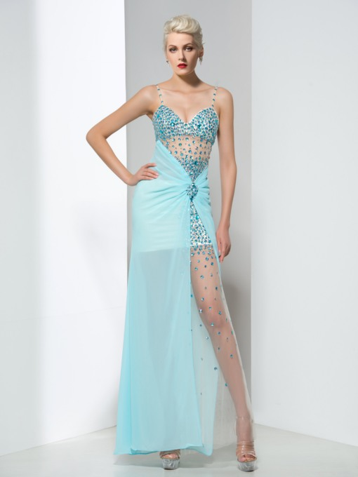 Spaghetti Straps Beaded Pleats Long Evening Dress