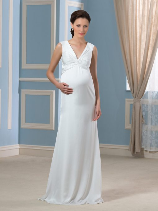 Empire Waist Satin Chiffon Maternity Wedding Dress
