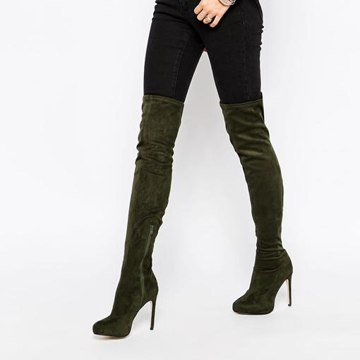 Pointed Toe Side Zipper Stiletto Heel Plain Over-the-Knee Women's Boots