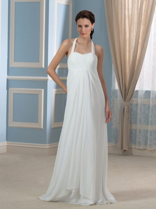 Halter Neck Pleats Maternity Wedding Dress