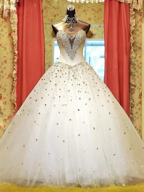 Rhinestone Beading Ball Gown Wedding Dress