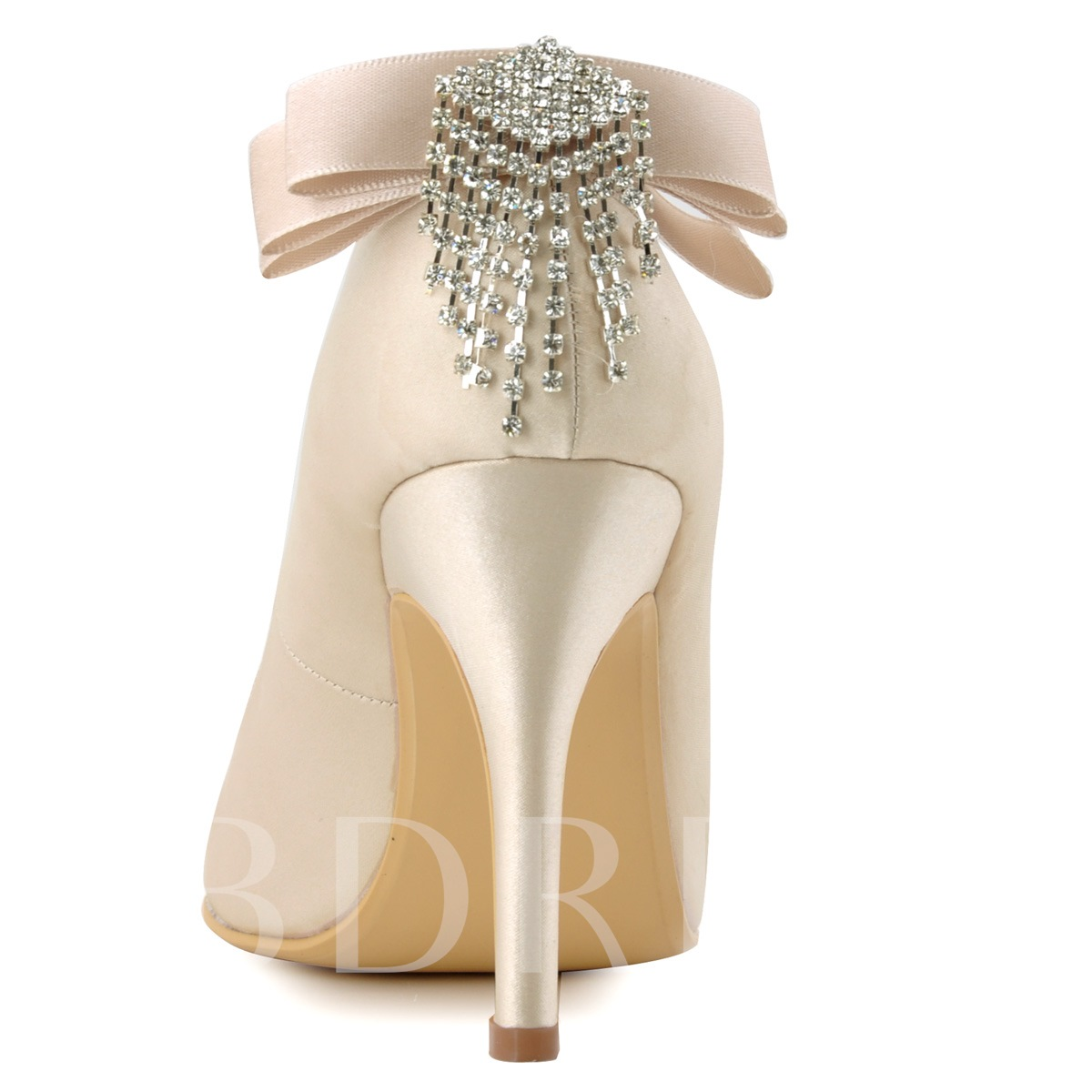 Pointed Toe Plain Rhinestone Stiletto Heel Slip-On Women's Wedding Shoes