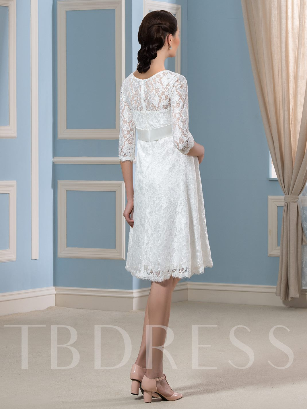 3/4 Length Sleeve Lace Knee-Length Short Maternity Wedding Dress ...