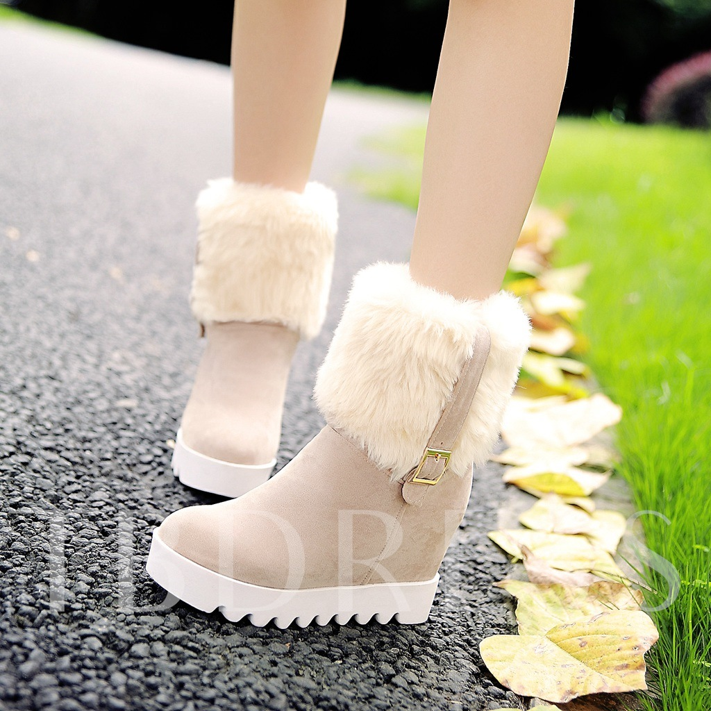 Slip-On Round Toe Wedge High Heel Short Floss Women's Ankle Snow Boots