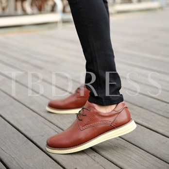 Flat Heel Low-Cut Upper Round Toe Lace-Up Front Men's Oxfords