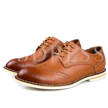 Pointed Toe Square Heel Lace-Up Front Low-Cut Upper Men's Oxfords
